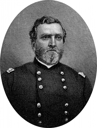 Engraving of Virginia-born Union Major General George Henry Thomas (July 31, 1816 – March 28, 1870), a career United States Army officer and a Union General during the American Civil War, one of the principal commanders in the Western Theater. Original  Editorial
