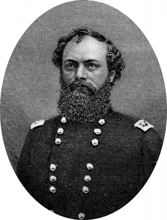 Engraving of Union Major General Quincy Adams Gillmore (February 25, 1825 – April 11, 1888) was an American civil engineer, author, and a general in the Union Army during the American Civil War. Original engraving by John Buttre, circa 1866. Editorial