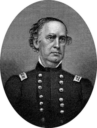 Engraving of Union Major General Samuel Ryan Curtis (February 3, 1805 – December 26, 1866), an American military officer, and one of the first Republicans elected to Congress.  Original engraving by John Buttre, circa 1866. Stock Photo - 17262629