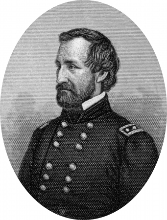 Engraving of Union Major General William Starke Rosecrans (September 6, 1819 – March 11, 1898), inventor, coal-oil company executive, diplomat, politician, and United States Army officer. He was Lincolns vice-presidential running mate. Original engravi