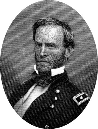 Engraving of Union Major General William Tecumseh Sherman (February 8, 1820 – February 14, 1891), famous for his concept of total warfare to demoralise the enemy, which he showed in his March to the Sea through the heartland of Georgia. Sherman was  Editorial
