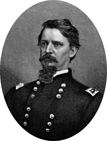 Engraving of Union General, Winfield Scott Hancock (February 14, 1824 – February 9, 1886), known to his men as Hancock the Superb, was a career U.S. Army officer, a hero of the Battle of Gettysburg,  and the Democratic nominee for President of the Unite Editorial