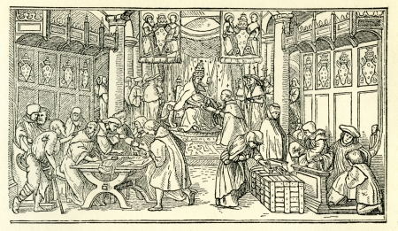 16th century: Line drawing of Catholics preparing Indulgenses for sale in Europe at the time of the Reformation. Illustration from Martin Luther by Gustav Freytag, published by The Open Court Publishing Company, 1897