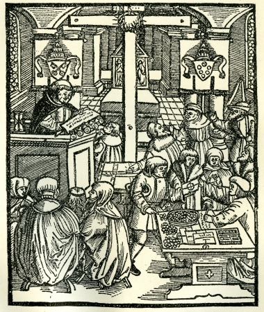 16th century: Line drawing of Catholics preparing Indulgenses for sale in Europe at the time of the Reformation. Original illustration from Martin Luther by Gustav Freytag, published by The Open Court Publishing Company, 1897