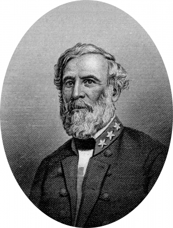 Engraving of Confederate General Robert Edward Lee (January 19, 1807 – October 12, 1870), a career military officer, famous for having commanded the Confederate Army of Northern Virginia in the American Civil War. Original engraving by John Buttre, circ