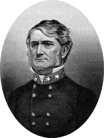 warlords: Engraving of Confederate Lieutenant General Leonidas Polk (April 10, 1806 – June 14, 1864), a Confederate general in the American Civil War who also served as bishop of the Episcopal Diocese of Louisiana and was  known as The Fighting Bishop. Original Editorial