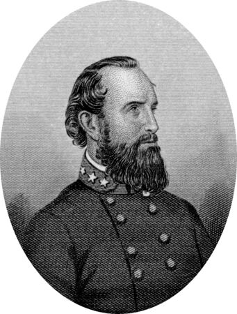 Engraving of Confederate  Lieutenant General Thomas Jonathan Stonewall Jackson (January 21, 1824 – May 10, 1863), one of the best-known Confederate generals during the American Civil War, famous for the battle of Bull Run. Confederate pickets accident Editorial