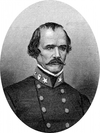 Engraving of Confederate Major General Albert Sidney Johnston (February 2, 1803 – April 6, 1862) served as a general in three different armies: the Texas Army, the United States Army, and the Confederate States Army. He saw extensive combat during his m Stock Photo - 17262620