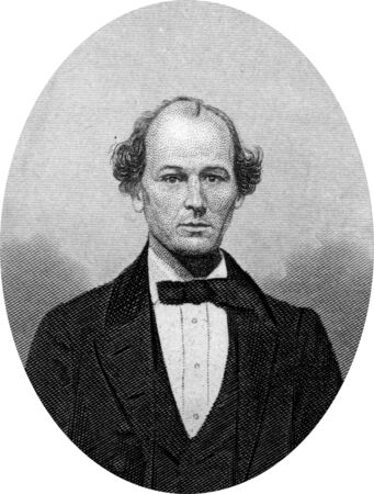 Engraving of Confederate politician Isham Green Harris (February 10, 1818 – July 8, 1897), who was an American politician. He served as Governor of Tennessee from 1857 to 1862 and as a U.S. Senator from 1877 until his death. During the Civil War, Harris