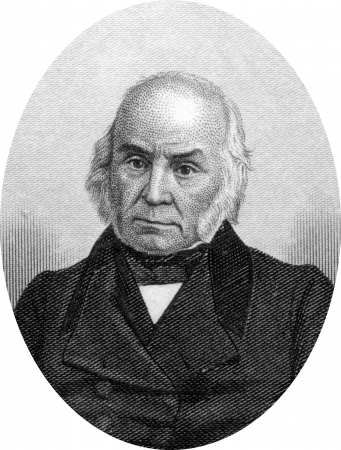 Engraving of John Quincy Adams (July 11, 1767-February 23, 1848),  the sixth President of the USA, serving from 1825 to 1829. Original engraving by John Buttre, circa 1866.