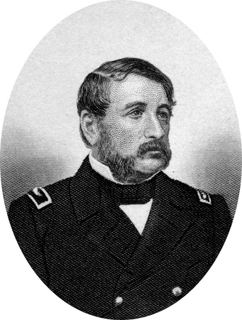 Engraving of Union Commander James Harmon Ward (25 September 1806 – 27 June 1861), the first officer of the United States Navy killed during the American Civil War. Original engraving by John Buttre, circa 1866.