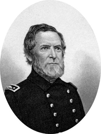 Engraving of Andrew Hull Foote (September 12, 1806 – June 26, 1863), an American naval officer who was noted for his service in the American Civil War and also for his contributions to several naval reforms in the years prior to the war. Original engrav Stock Photo - 17262590