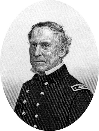 Engraving of Union Navy Rear Admiral David Glasgow Farragut (July 5, 1801 – August 14, 1870), a flag officer of the United States Navy during the American Civil War. He was the first rear admiral, vice admiral, and admiral in the United States Navy. He