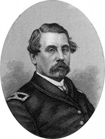 Engraving of Union Brigadier General T F Meacher, Original engraving by John Buttre, circa 1866.