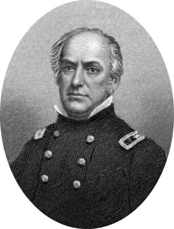 Engraving of Union Brigadier General Edward Dickinson Baker (February 24, 1811 – October 21, 1861), an English-born American politician, lawyer, and military leader. Baker served in the U.S. House of Representatives from Illinois and later as a U.S. Sen Editorial