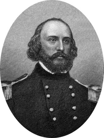 warlords: Engraving of Union Brigadier General Frederick West Lander (December 17, 1821 – March 2, 1862) was a transcontinental United States explorer, general in the Union Army during the American Civil War, and a prolific poet. Original engraving by John Buttre Editorial