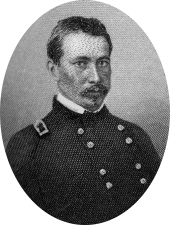 Engraving of Union George Dashiell Bayard (December 18, 1835 – December 14, 1862), a career soldier in the United States Army and a general in the Union Army in the American Civil War. He was wounded in the Battle of Fredericksburg and died the next day Stock Photo - 17262591