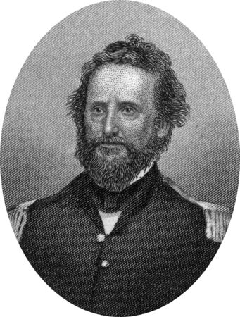 Engraving of Union Brigadier General Nathaniel Lyon (July 14, 1818 – August 10, 1861), the first Union general to be killed in the American Civil War. Lyon was noted for his actions in the state of Missouri at the beginning of the conflict. Original eng Editorial