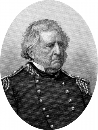 Engraving of Union Lieutenant General Winfield Scott (June 13, 1786 – May 29, 1866), a United States Army general, and unsuccessful presidential candidate of the Whig Party in 1852. Known as Old Fuss and Feathers and the Grand Old Man of the Army, S