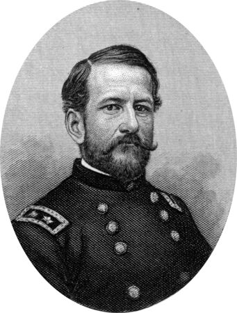 Engraving of Union Major General Alfred Pleasonton (July 7, 1824 – February 17, 1897), a United States Army officer and General of Union cavalry during the American Civil War. He commanded the Cavalry Corps of the Army of the Potomac during the Gettysbu Stock Photo - 17262597