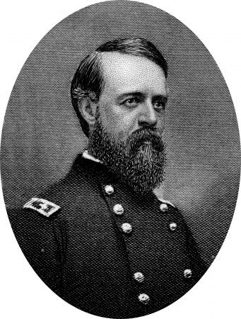 warlords: Engraving of Union Major General Alfred Howe Terry (November 10, 1827 – December 16, 1890), a Union general in the American Civil War and the military commander of the Dakota Territory from 1866 to 1869 and again from 1872 to 1886. Original engraving by Editorial
