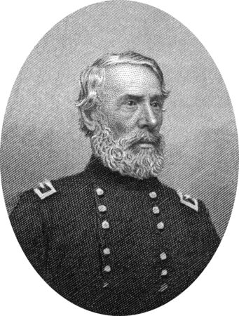 Engraving of Union Major General Edwin Vose Sumner (January 30, 1797 – March 21, 1863,) a career United States Army officer who became a Union Army general and the oldest field commander of any Army Corps on either side during the American Civil War. Hi