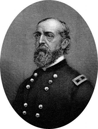 abolitionists: Engraving of Union Major General George C. Meade, best known for defeating Confederate General Robert E. Lee at the Battle of Gettysburg in 1863. Original engraving by John Buttre, circa 1866.
