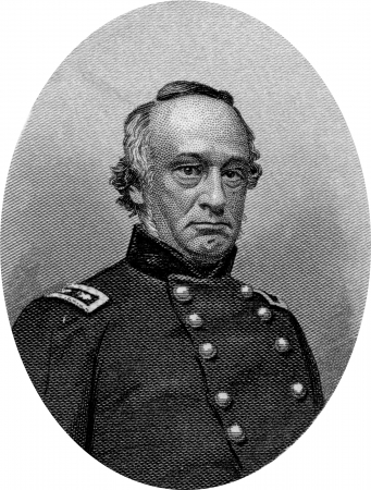 abolitionists: Engraving of Union Major General Henry W Halleck. Original engraving by John Buttre, circa 1866.