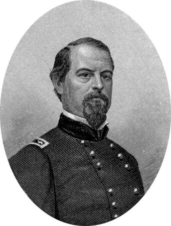 abolitionists: Engraving of Union Major General Irwin McDowell. Original engraving by John Buttre, circa 1866.