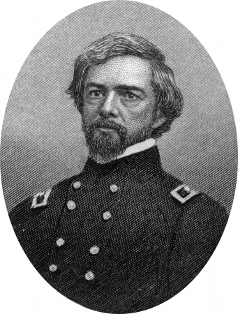 Engraving of Union Major General Isaac Ingalls Stevens (March 25, 1818 – September 1, 1862), the first Governor of Washington Territory, a United States Congressman, and a brigadier general in the Union Army during the American Civil War until his death Stock Photo - 17262608