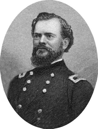 Engraving of Union Major General James Birdseye McPherson (November 14, 1828 – July 22, 1864) a career United States Army officer who served as a General in the Union Army during the American Civil War. He was killed at the Battle of Atlanta. Original e Stock Photo - 17262611
