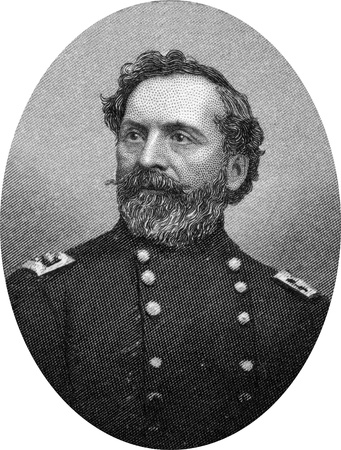 Engraving of Union Major General John Sedgwick (September 13, 1813 – May 9, 1864), teacher, a career military officer, and a Union Army general in the American Civil War. He was the highest ranking Union casualty in the Civil War, killed by a sniper at  Stock Photo - 17262635