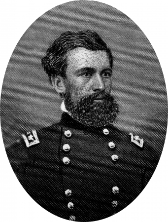 Engraving of Union Major General Oliver Otis Howard (November 8, 1830 – October 26, 1909), a career United States Army officer and a Union general in the American Civil War, and later an author and Indian fighter.  Original engraving by John Buttre, cir