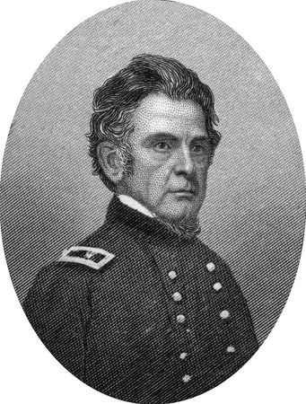 Engraving of Major General Ormsby MacKnight (or McKnight) Mitchel (August 28, 1810 – October 30, 1862), an American astronomer and major general in the American Civil War. Mitchell was also an attorney, surveyor, professor, and publisher, known in the U Stock Photo - 17262619