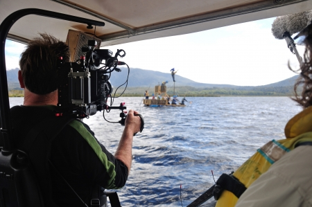 Cameraman and sound recordist at work on the lake