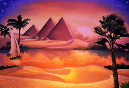 nile: painted concert backdrop of ancient Egypt and Nile River Stock Photo