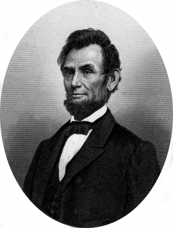Engraving of former US President Abraham Lincoln. Original engraving by John Buttre, circa 1866.