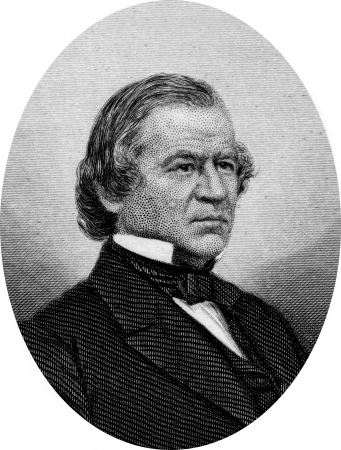Engraving of former US President Andrew Johnson. Original engraving by John Buttre, circa 1866. Stock Photo - 17393234