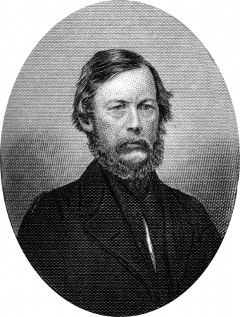 Engraving of John Adam Kasson (January 11, 1822 – May 18, 1910), a nineteenth century lawyer, politician and diplomat from south-central Iowa. Elected to the U.S. House six times, he repeatedly interrupted his congressional work to act in the Diplomatic Stock Photo - 17393226