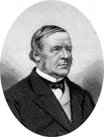 hugh: Engraving of Hugh McCulloch (December 7, 1808 ? May 24, 1895); an American statesman who served two non-consecutive terms as U.S. Treasury Secretary, and the only person to serve under three presidents. Original engraving by John Buttre, circa 1866.