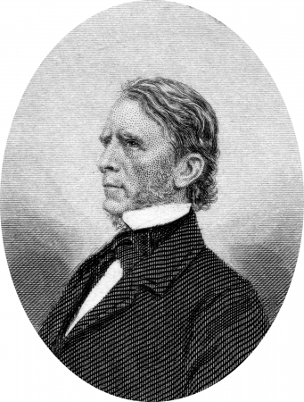 Engraving of William Pitt Fessenden (October 16, 1806 – September 8, 1869), an American politician from the U.S. state of Maine. He served in the House of Representatives and Senate before becoming Secretary of the Treasury. Original engraving by John B Stock Photo - 17393235
