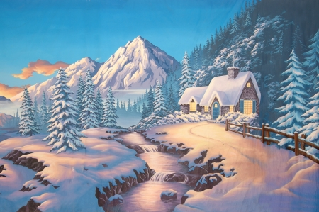 painted backdrop of cottage in snowy meadow Stock Photo - 17823219