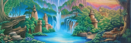 tranquillity: painted backdrop of river and jungle