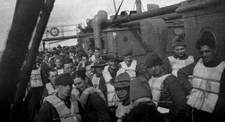 bygone: Circa 1914-18  New Zealand soldiers wearing life vests on troop ship going to the First World War