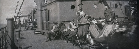 bygone: Circa 1914-18  New Zealand soldiers on troop ship going to the First World War Editorial