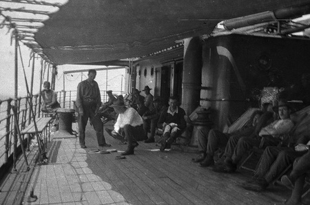 bygone: Circa 1914-18  New Zealand soldiers playing games on troop ship going to the First World War