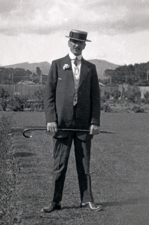 possibly: Circa 1910: Man posing in best - possibly wedding - clothes, New Zealand, probably early 1900s Editorial
