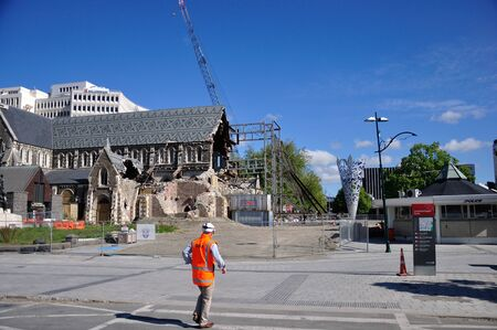 CHRISTCHURCH, NEW ZEALAND, NOVEMBER 16, 2012 - The iconic Anglican Cathedral remains a ruin in Christchurch, South Island, New Zealand, since the earthquake of 22-2-2011 Stock Photo - 18603978