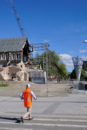 CHRISTCHURCH, NEW ZEALAND, NOVEMBER 16, 2012 - The iconic Anglican Cathedral remains a ruin in Christchurch, South Island, New Zealand, since the earthquake of 22-2-2011 Stock Photo - 18603967