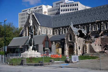 CHRISTCHURCH, NEW ZEALAND, NOVEMBER 16, 2012 - The iconic Anglican Cathedral remains a ruin in Christchurch, South Island, New Zealand, since the earthquake of 22-2-2011 Stock Photo - 18603988
